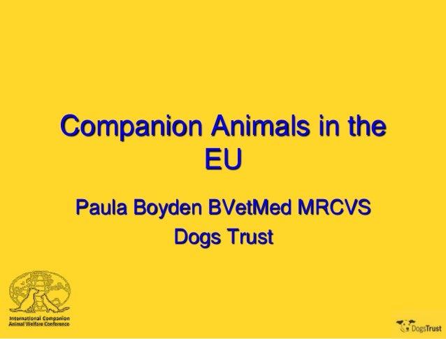 Companion Animals in the         EU Paula Boyden BVetMed MRCVS          Dogs Trust