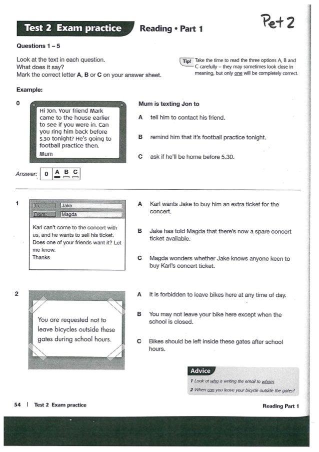 cambridge pet reading and writing test pdf
