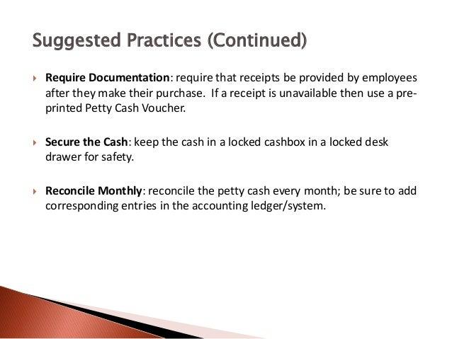 petty cash management introduction to petty cash