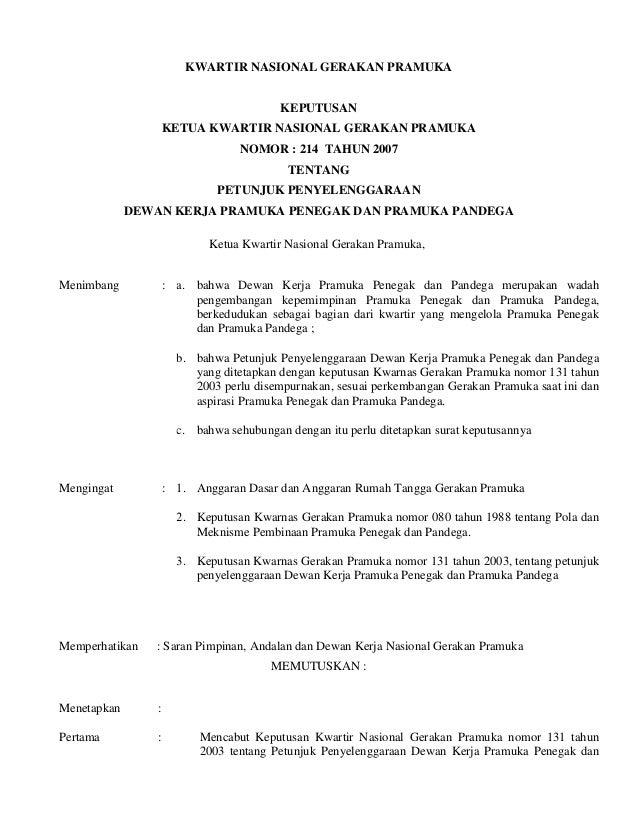 Petunjuk Penyelenggaraan Dewan Kerja Pramuka Penegak Dan
