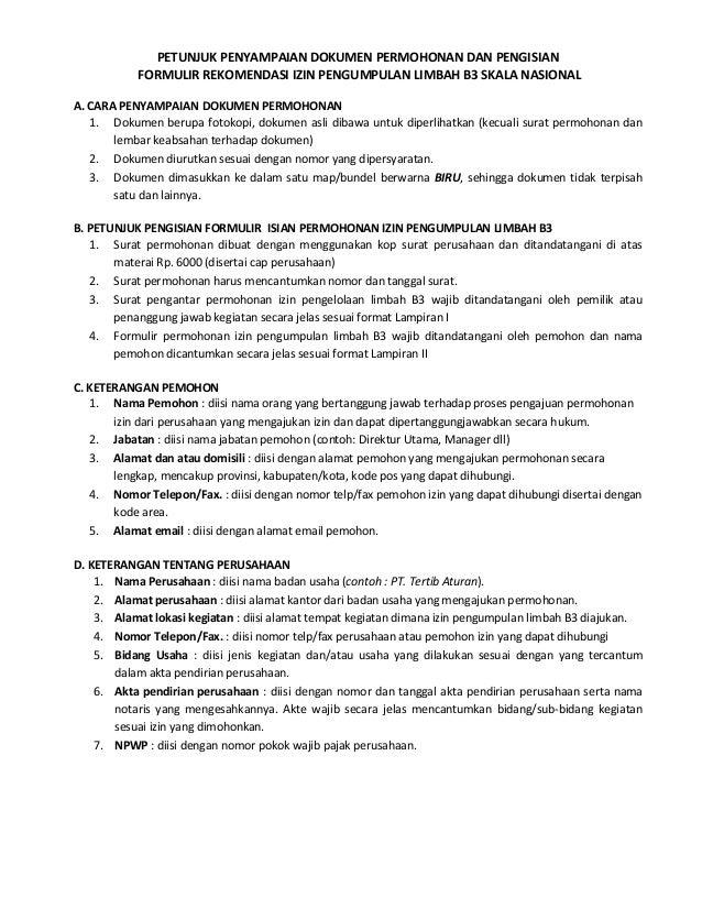 Petunjuk Perusahaan Rekomendasi Izin Pengumpulan Limbah B3