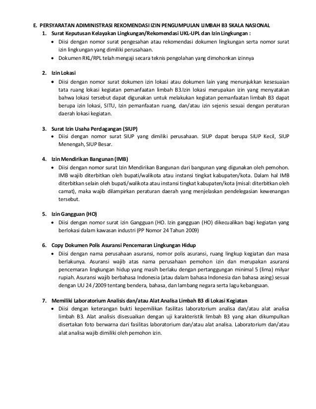 Petunjuk Perusahaan Rekomendasi Izin Pengumpulan Limbah B3 Skala Nasi
