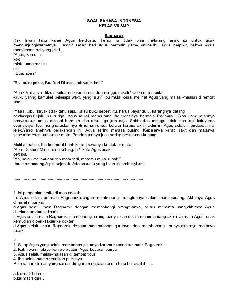 SOAL BAHASA INDONESIA                                                                     KELAS VII SMP                   ...