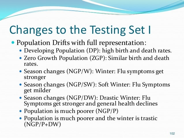 102 Changes to the Testing Set I  Population Drifts with full representation:  Developing Population (DP): high birth an...