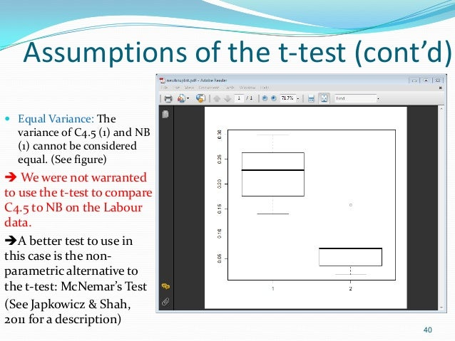 Assumptions of the t-test (cont'd)  Equal Variance: The variance of C4.5 (1) and NB (1) cannot be considered equal. (See ...