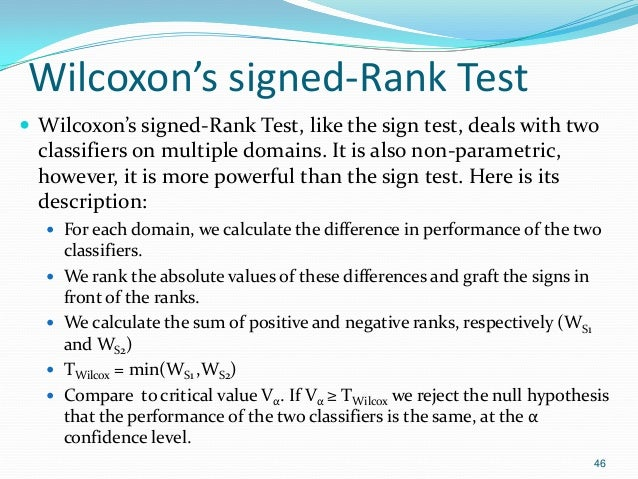 Wilcoxon's signed-Rank Test  Wilcoxon's signed-Rank Test, like the sign test, deals with two classifiers on multiple doma...