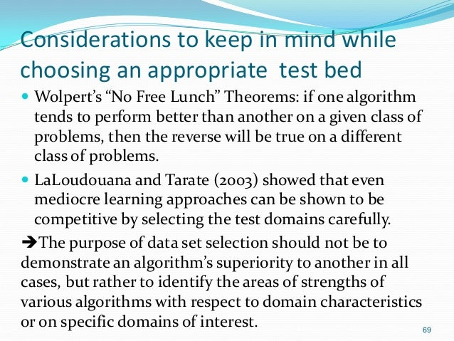 """Considerations to keep in mind while choosing an appropriate test bed  Wolpert's """"No Free Lunch"""" Theorems: if one algorit..."""