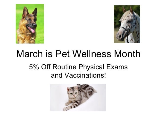 March is Pet Wellness Month 5% Off Routine Physical Exams and Vaccinations!