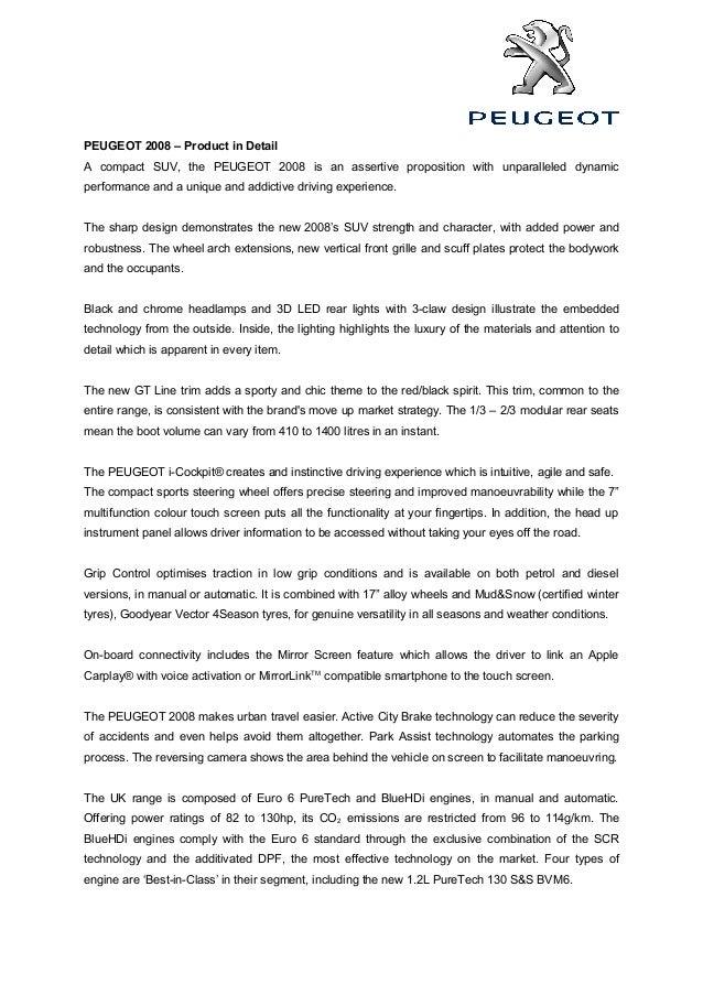 Peugeot 2008 Facelift press release