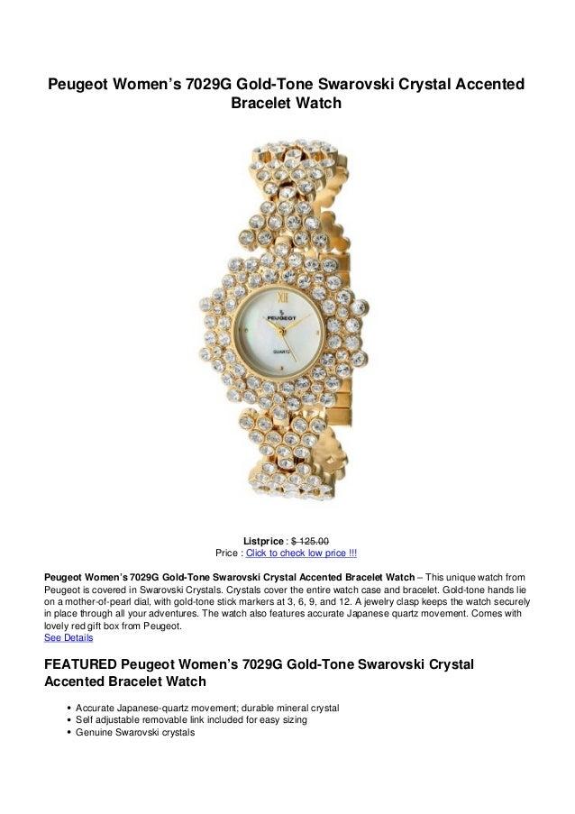 Peugeot Women's 7029G Gold-Tone Swarovski Crystal Accented                     Bracelet Watch                             ...
