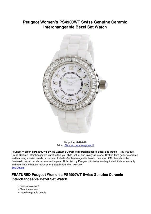 Peugeot Women's PS4900WT Swiss Genuine Ceramic                   Interchangeable Bezel Set Watch                          ...