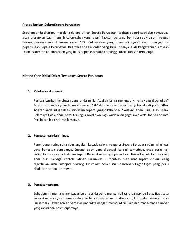 Panduan Dan Contoh Soalan Temuduga Latihan Separa Perubatan 2015