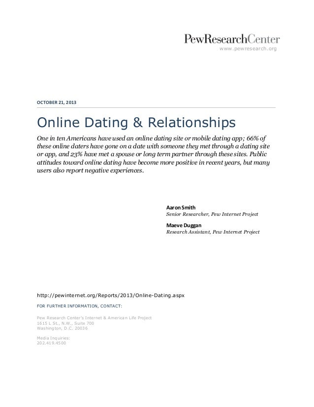 "pew report online dating Pew research have conducted some of the most important research into the world of online dating, and for a recent article, the washington dc ""fact tank"" collected some of its top stats about the dating space taken from previous reports."