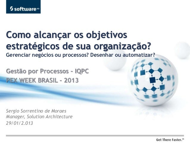 Como alcançar os objetivosestratégicos de sua organização?Gerenciar negócios ou processos? Desenhar ou automatizar?Gestão ...