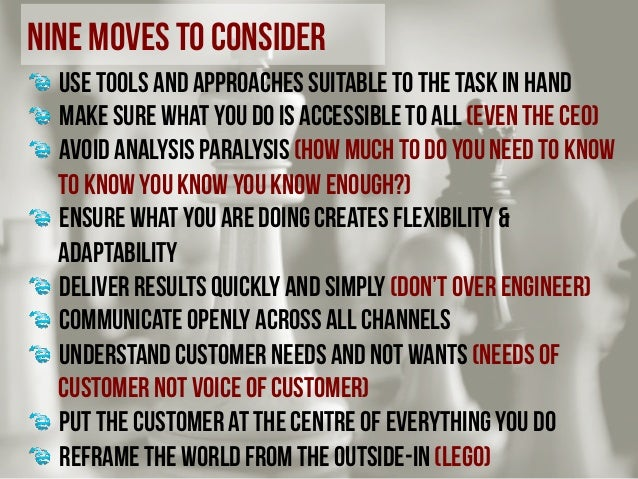 nine moves to consider !  use tools and approaches suitable to the task in hand !  make sure what you do is accessible t...