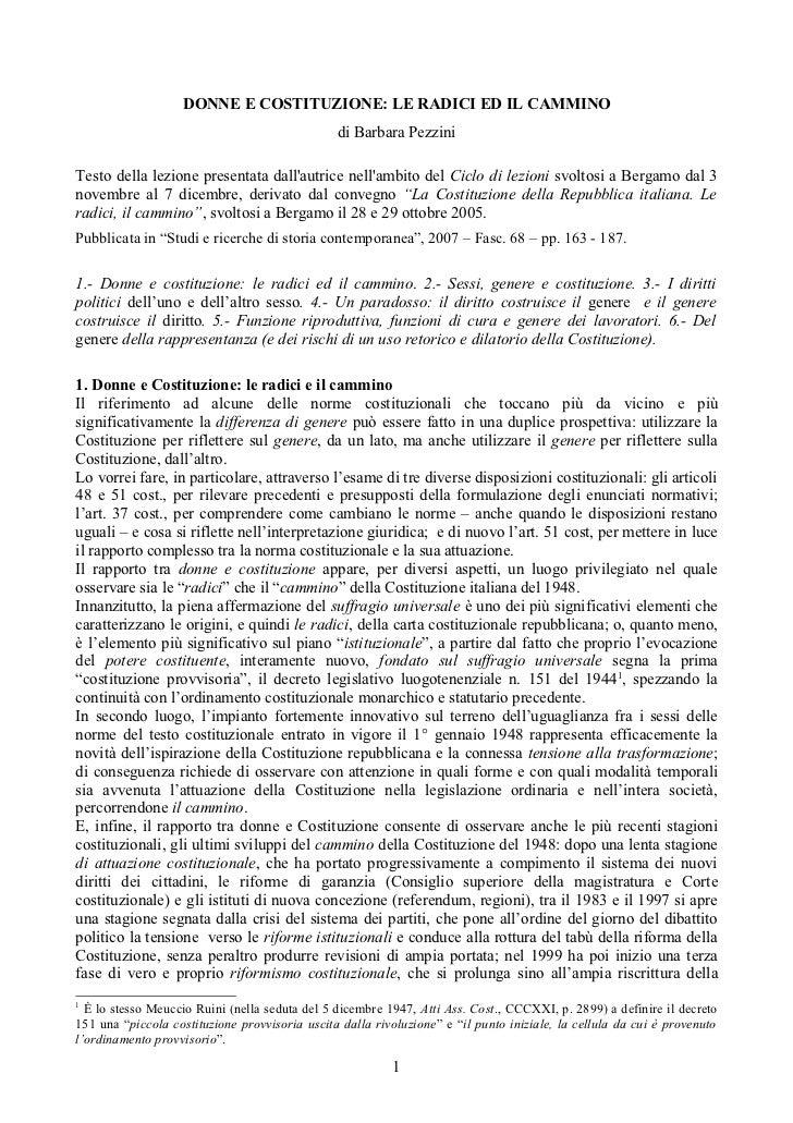 DONNE E COSTITUZIONE: LE RADICI ED IL CAMMINO                                                di Barbara PezziniTesto della...