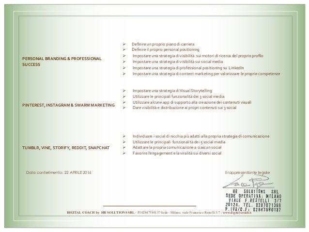 Data conferimento: 22 APRILE 2016 Il rappresentante legale PERSONALBRANDING&PROFESSIONAL SUCCESS Ø Definireunp...