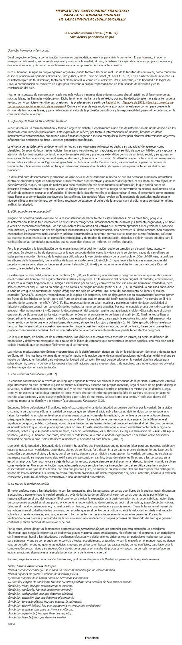 Francisco llama a promover un periodismo de paz
