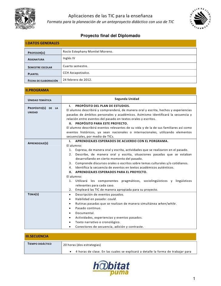 Aplicaciones de las TIC para la enseñanza               Formato para la planeación de un anteproyecto didáctico con uso de...