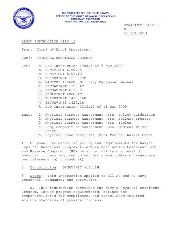 navy prt instructions 6110 1 j rh slideshare net PRT TC 3 22.20 Manual Army Physical Fitness