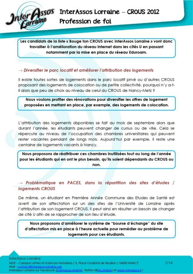 Profession de Foi de la liste Bouge Ton CROUS avec InterAssos Lorraine, la FéDEN et le BREI