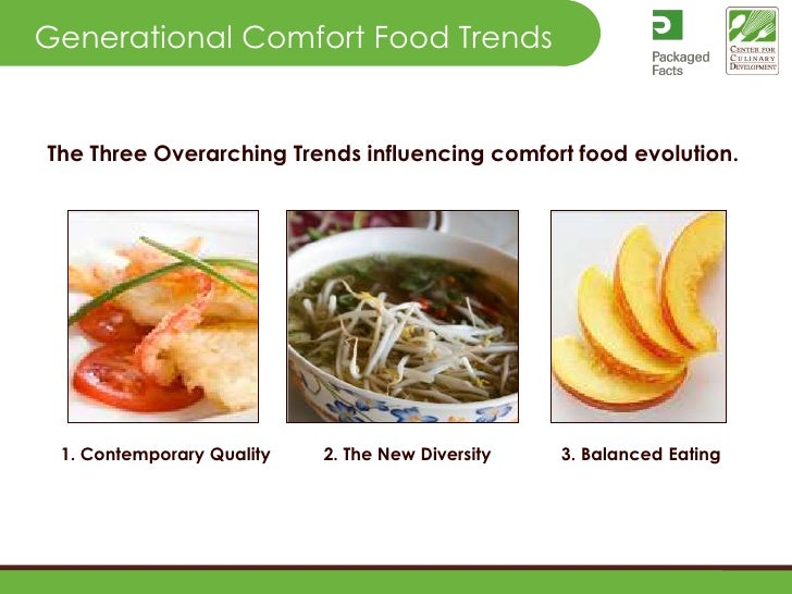 Generational Comfort Food Trends<br />The Three Overarching Trends influencing comfort food evolution. <br />1. Contempora...