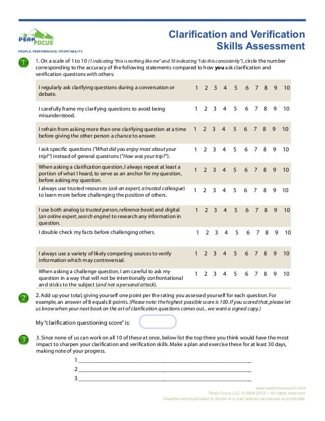 Clarification Skills Assessment Worksheet