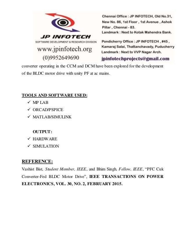 Pfc Cuk Converter Fed Bldc Motor Drive