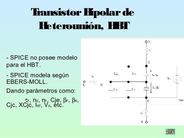 Transistor Bipolar de           H eterounión, H T                           B- SPICE no posee modelopara el HBT.- SPICE mo...