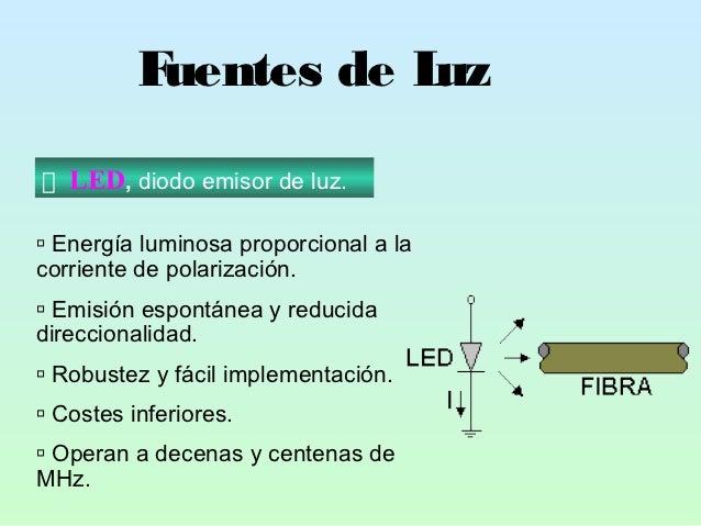 Fuentes de Luz   LED, diodo emisor de luz. Energía luminosa proporcional a lacorriente de polarización. Emisión espontán...
