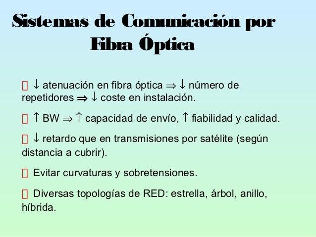 Sistemas de Comunicación por        F ibra Óptica   ↓ atenuación en fibra óptica ⇒ ↓ número de repetidores ⇒ ↓ coste en in...