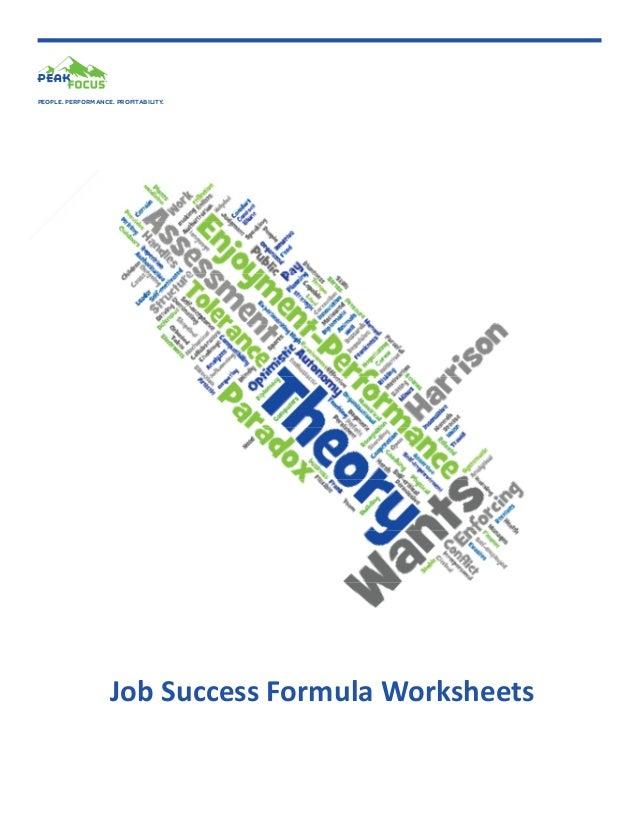 PEOPLE. PERFORMANCE. PROFITABILITY.  Job Success Formula Worksheets