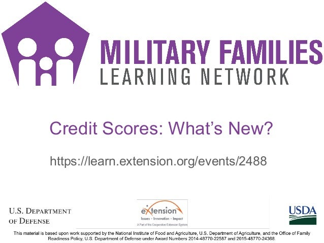 Credit Scores: What's New? https://learn.extension.org/events/2488