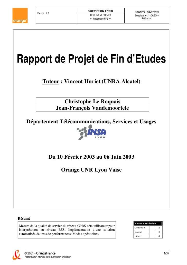 Support Réseau d'AccèsRapport de Projet de Fin d'Etudes                      Tuteur : Vincent Huriet (UNRA Alcatel)       ...