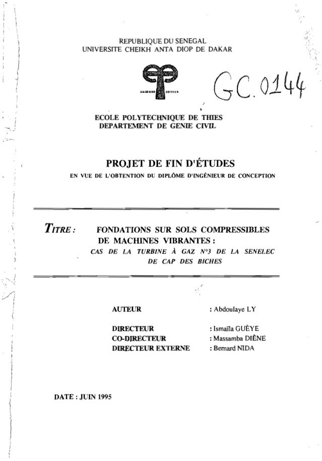 , , ! 1, ) 1 j  .... REPUBLIQUE DU SENEGAL UNIVERSITE CHEIKH ANTA DIOP DE DAKAR Ge.oi4~ ECOLE POLYTECHNIQUE DE TIllES DEPA...