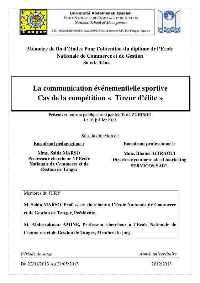 Mémoire de fin d'études Pour l'obtention du diplôme de l'Ecole Nationale de Commerce et de Gestion Sous le thème Présenté ...