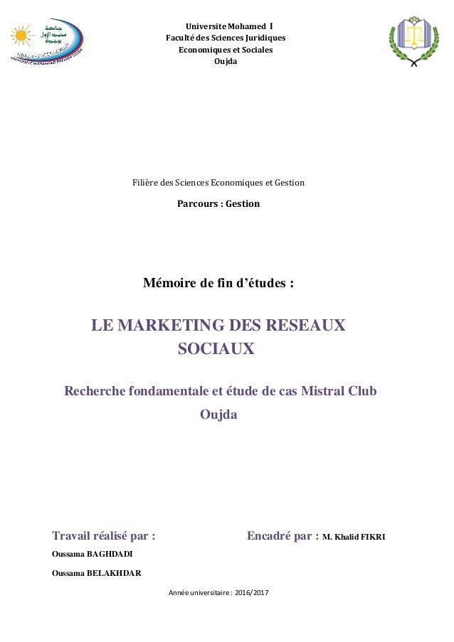 Universite Mohamed I Faculté des Siences Juridiques Economiques et Sociales Oujda Filière des Sciences Economiques et Gest...