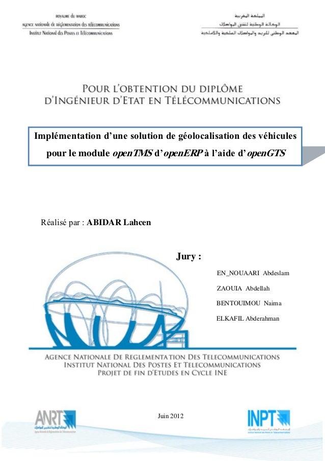 AZImplémentation d'une solution de géolocalisation des véhicules  pour le module openTMS d'openERP à l'aide d'openGTS Réal...