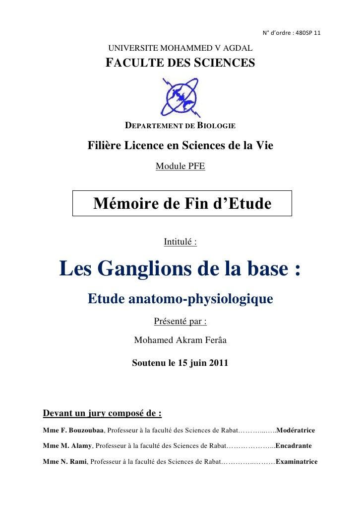 N° d'ordre: 480SP 11UNIVERSITE MOHAMMED V AGDAL<br />FACULTE DES SCIENCES<br />center738505<br />DEPARTEMENT DE BIOLOGIE<...