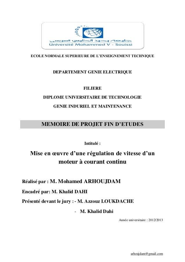 arhoujdam@gmail.com ECOLE NORMALE SUPERIEURE DE L'ENSEIGNEMENT TECHNIQUE DEPARTEMENT GENIE ELECTRIQUE FILIERE DIPLOME UNIV...