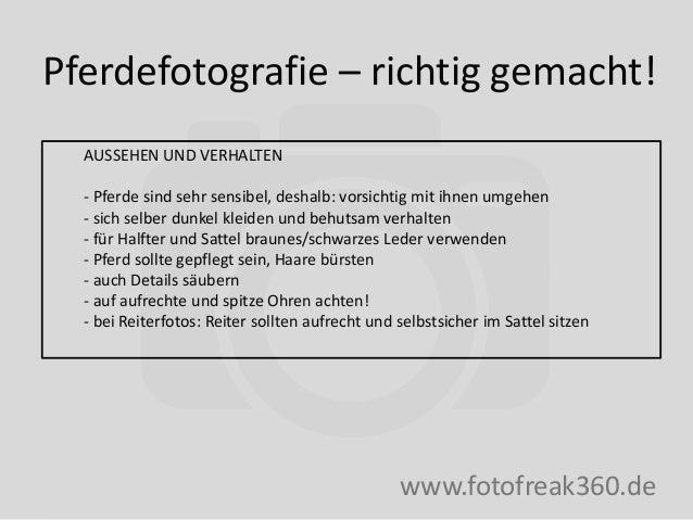 Pferdefotografie – richtig gemacht! www.fotofreak360.de AUSSEHEN UND VERHALTEN - Pferde sind sehr sensibel, deshalb: vorsi...