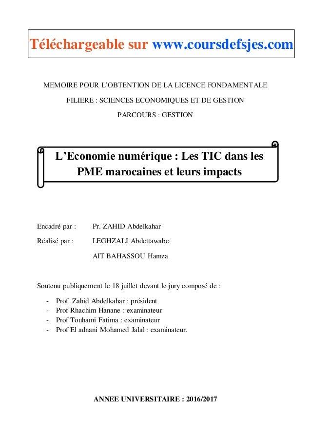 MEMOIRE POUR L'OBTENTION DE LA LICENCE FONDAMENTALE FILIERE : SCIENCES ECONOMIQUES ET DE GESTION PARCOURS : GESTION Encadr...