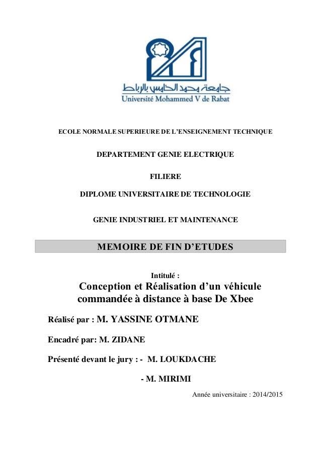 ECOLE NORMALE SUPERIEURE DE L'ENSEIGNEMENT TECHNIQUE DEPARTEMENT GENIE ELECTRIQUE FILIERE DIPLOME UNIVERSITAIRE DE TECHNOL...