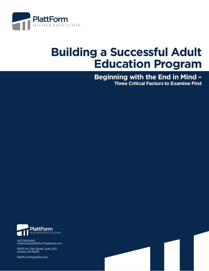 Building a Successful Adult                                   Education Program                                   Beginnin...