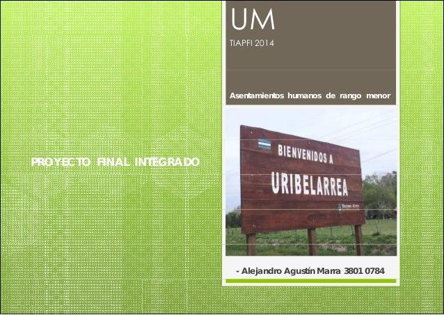 PROYECTO FINAL INTEGRADO  UM  TIAPFI 2014  Asentamientos humanos de rango menor  - Alejandro Agustín Marra 3801 0784