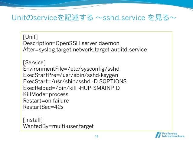 Unitのserviceを記述する 〜~sshd.service を⾒見見る〜~ 13 [Unit] Description=OpenSSH server daemon After=syslog.target network.target a...