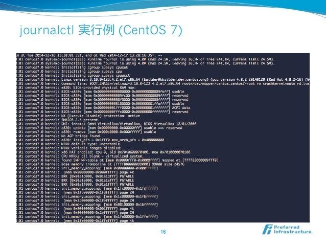 journalctl 実⾏行行例例 (CentOS 7) 16