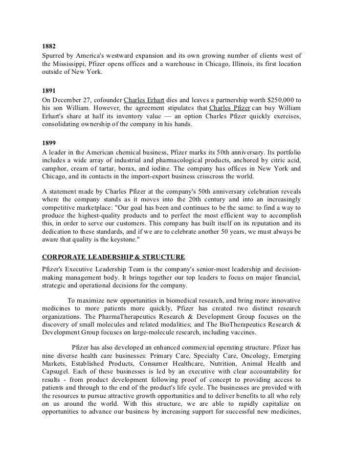pfizer organizational structure 2017