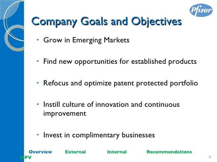pfizer objectives and goals Pfizer – marketing case study essay sample objective the objective of this portfolio is to analyze whether pfizer inc is a market leader of producing ethical products in the pharmaceutical industry in hong kong.