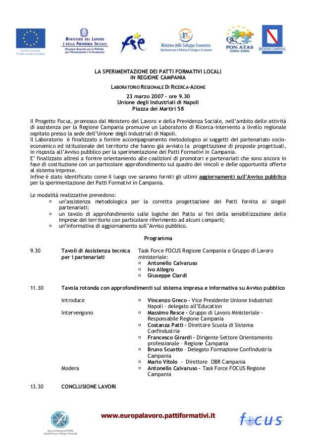 LA SPERIMENTAZIONE DEI PATTI FORMATIVI LOCALI                                        IN REGIONE CAMPANIA                  ...